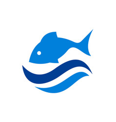 fish on water waves sea logo icon design vector image