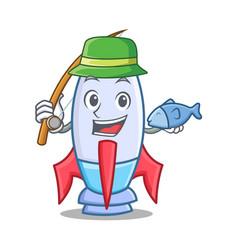 Fishing cute rocket character cartoon vector