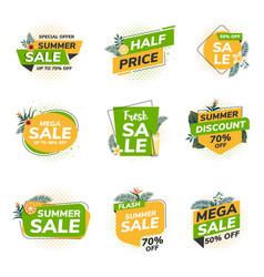 Flat design origami summer sale labels 4 vector