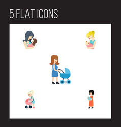 Flat icon mother set of mother perambulator baby vector