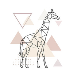 geometric giraffe on simple triangles background vector image