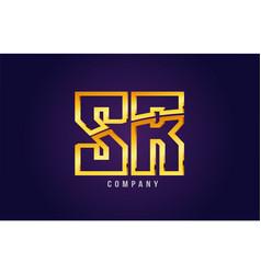 gold golden alphabet letter sr s r logo vector image
