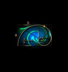 Golden ratio fibonacci sequence number gold sign vector