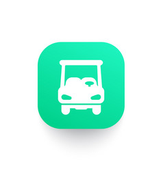Golf cart icon car on green shape vector
