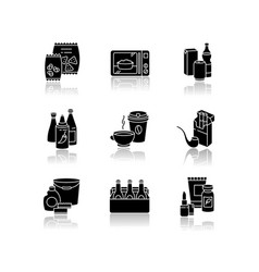 Grocery categories drop shadow black glyph icons vector