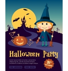 Halloween Party Design template with witch girl vector