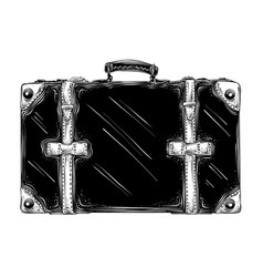 Hand drawn sketch of retro suitcase in black vector