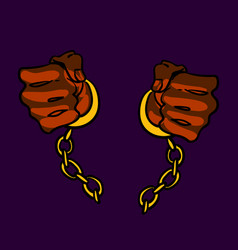 Hands in chains freed vector