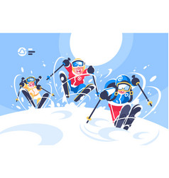 happy children skiing flat poster vector image