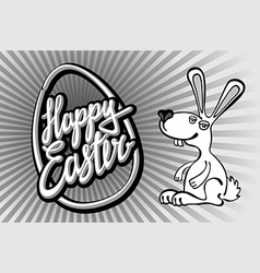 Happy Easter card with rabbit outline vector