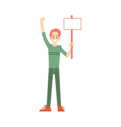 Happy man holding blank placard above head vector