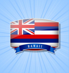 hawaiian bulged badge or icon with ribbon on blue vector image