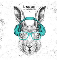 Hipster animal rabbit with headphones vector
