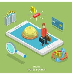 Hotel search online flat isometric concept vector image