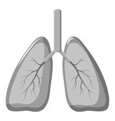 Human lungs icon gray monochrome style vector