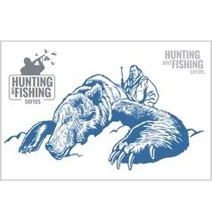 Hunter and bear - vintage vector image