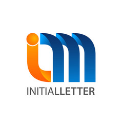 initial letter im curved logo concept design vector image