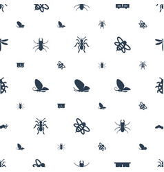 Insect icons pattern seamless white background vector