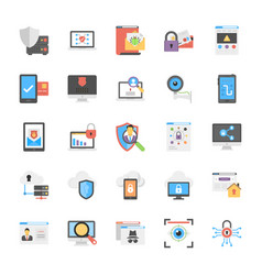 internet security icons flat design vector image