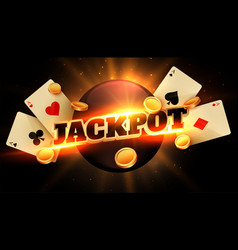 Jackpot congratulation background with coins and vector