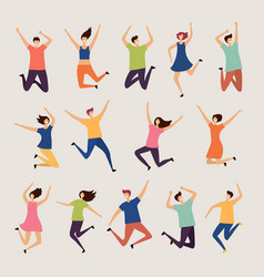 jumping people young and adult laughing happy vector image