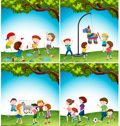 kids with fun activity vector image