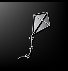 kite sign gray 3d printed icon on black vector image