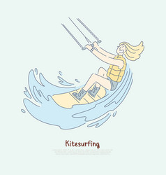 kitesurfing fan enjoying vacations female surfer vector image