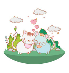 Kitty cats in love outdoors cartoon vector