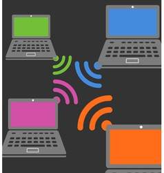 Laptop wireless connection composition vector image vector image