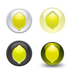 Lemon button set web 20 icons vector