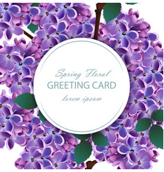 lilac flowers beautiful round card spring vector image