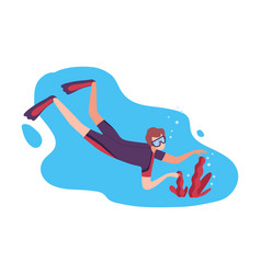 Man in swimwear goggles and flippers swimming vector