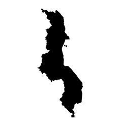map malawi isolated black on vector image