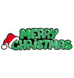 Merry christmas sign with hat vector