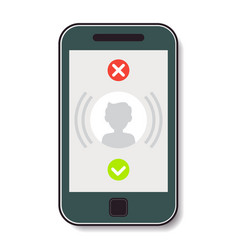 mobile phone with an incoming call vector image