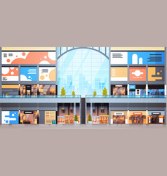 Modern shopping mall interior big many boutiques vector