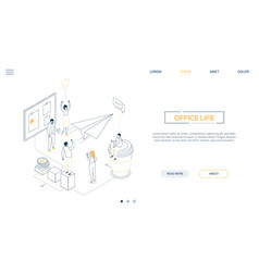 Office life - line design style isometric web vector