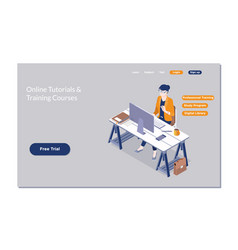 Online training workshops and courses vector