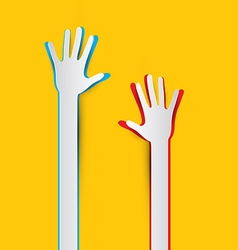 Paper Cut Hands on Yellow - Orange Background vector image