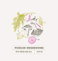 Pickled mushrooms set with dill and onion vector