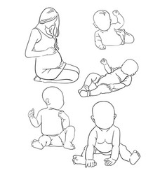 pregnancy and babies line art 02 vector image