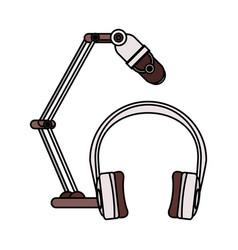 radio microphone retro with earphones vector image