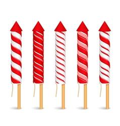 Red Firework Rockets vector