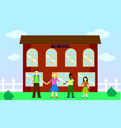 School yard with children from different countries vector