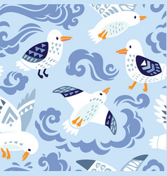 seamless pattern with seagulls in decorative style vector image