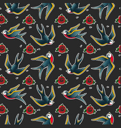 Seamless pattern with swallows and roses in old vector
