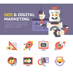 SEO Digital Marketing Icons vector image