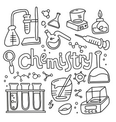set laboratory equipment in black and white vector image