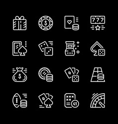 set line icons of gambling vector image